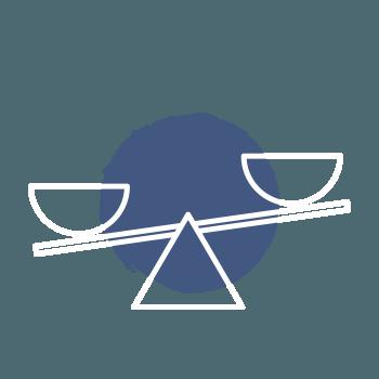 Icon Waage Ungleichgewicht – Schritt zum Erfolg – Thema bestimmen