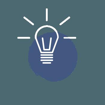 Icon Glühbirne – Schritt zum Erfolg – Entscheidung treffen