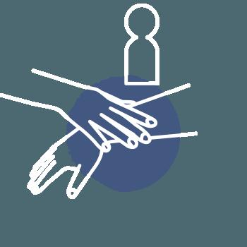 Icon helfende Hand – Schritt zum Erfolg – Interaktion, Aufstellungen, Muskeltest