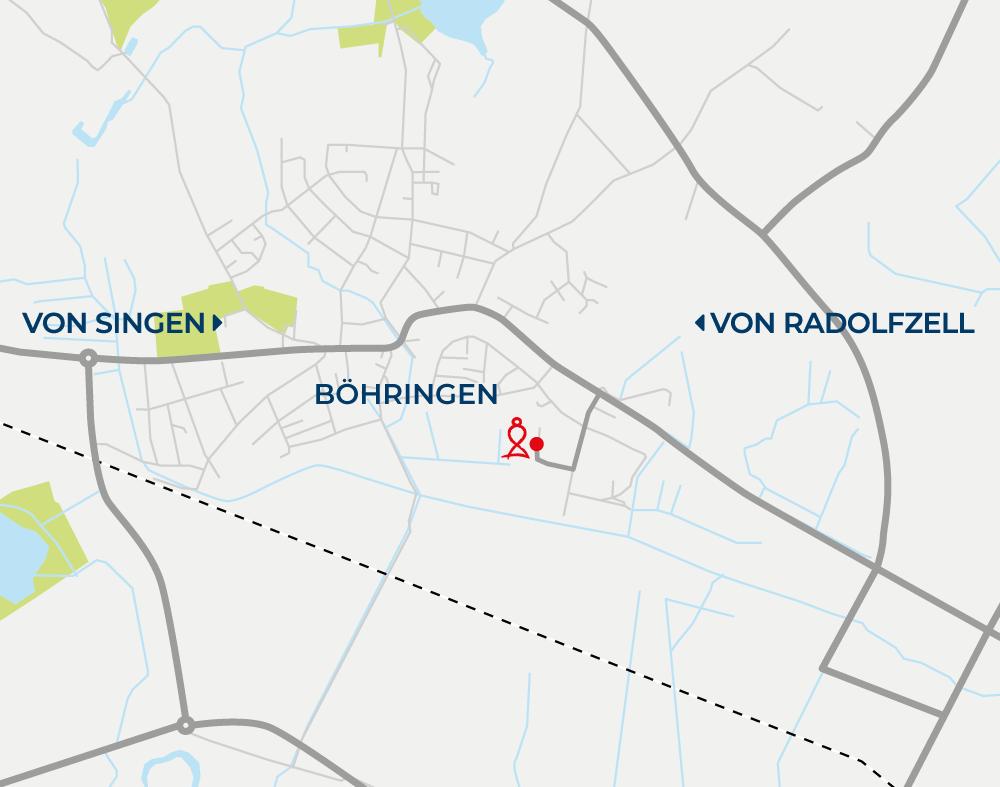 Anfahrtskarte Dominik Schanz Kinesiologe in Radolfzell-Böhringen am Bodensee